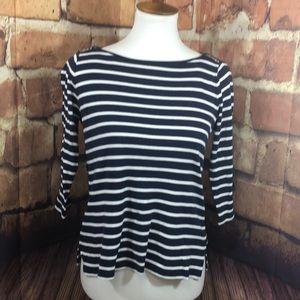 Ann Taylor small navy & white striped blouse
